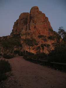 The main bluffs, Mt Arapiles, looking from the camp grounds at first light.  Photo: Trent.