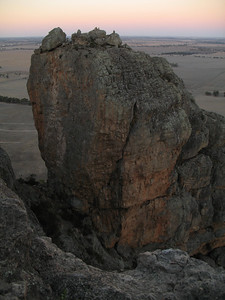 Bluff Major on Mt Arapiles. The central route up the left side face is called Missing Link. It is a grade 17 at 30m long. This was the hardest graded climb I lead at Arapiles this trip, and the hardest trad route I have done to date.  Photo: Trent.