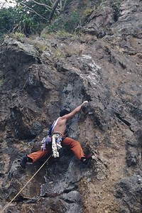 Trent trying to find the path of semi-solid rock.  Photo by Sam. This is a crop of the orignal 35mm scan.