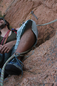 Andy climbing on Vision (19), Castle Hill, Townsville. This was a pretty cool 3 pitch climb. Photo by Trent Williams