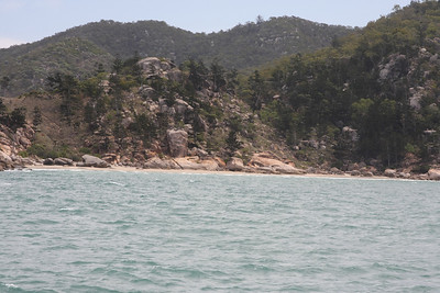 Rocky Bay at Magnetic Island, Australia. There is roped climbing on the 12m high boulder in the middle of the photo. Photo by Trent Williams