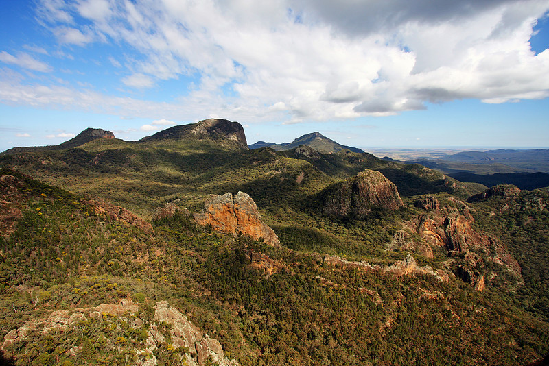 View from Belougery Spire. Bluff Mountain in the distance. Trent and Andys Warrumbungles rockclimbing trip 2009.