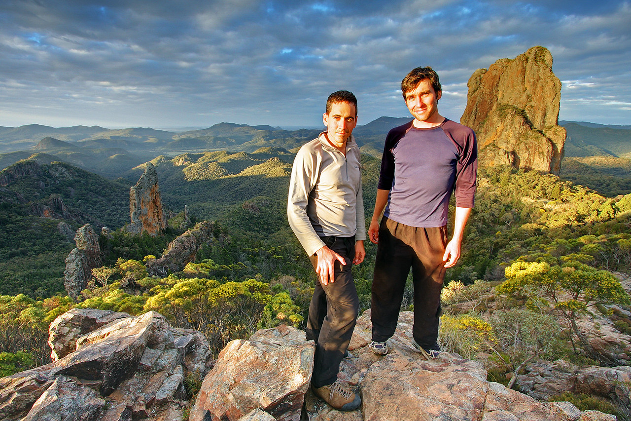 Trent(L) and Andys(R) Warrumbungles rockclimbing trip 2009. Belougery Spire to the right.
