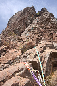 Ptich 2 of Cornerstone Rib, Crater Bluff. Trent and Andys Warrumbungles rockclimbing trip 2009.