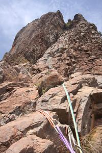 Ptich 2 of Cornerstone Rib, Crater Bluff. Trent and Andys Warrumbungles rockclimbing trip 2009.