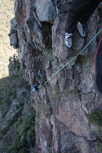 Halfway up Virtigo, Belougery Spire. Trent and Andys Warrumbungles rockclimbing trip 2009.