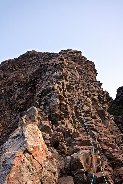 2nd last pitch on Cornerstone Rib. Trent and Andys Warrumbungles rockclimbing trip 2009.