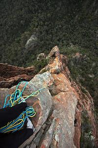 Half way up Cornerstone Rib, Crater Bluff. Trent and Andys Warrumbungles rockclimbing trip 2009.