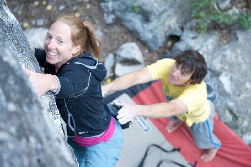 Jackson Hole Rock Climbing, Jessica Baker takes a spot from Donald