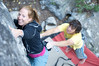 Jackson Hole Rock Climbing, Jessica Baker takes a spot from Donald