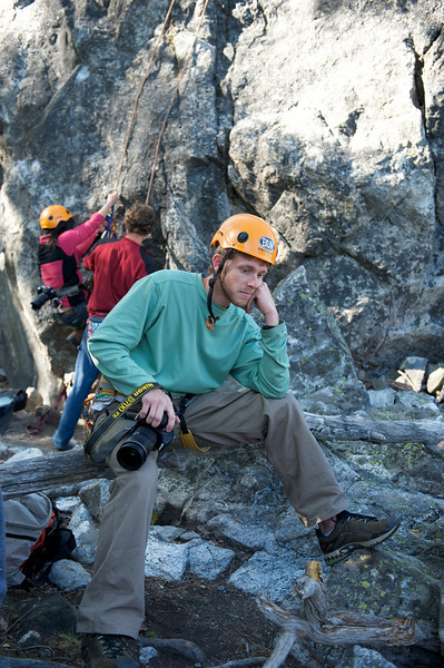 Jackson Hole Rock Climbing, photographer Kirk Williams takes a break from an exhausting day of shooting