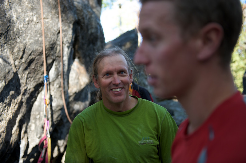 Jackson Hole Rock Climbing, Bill Anderson waking Andy up from his deep thought