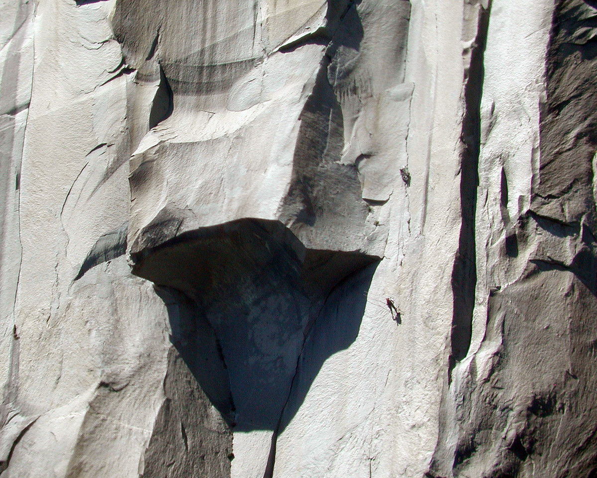 The Great Roof on the nose of El Capitan, Yosemite National Park, California. This was taken from the valley floor with a Nikon Cool Pix 990 and the Eagle Eye 5x zoom lens in June of 2004.