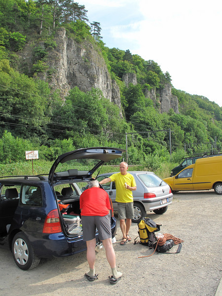 rock climbing with Rogier Wassenberg and Frank Andriesse, Beez, Ardennes