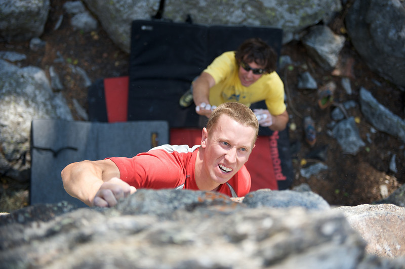 Jackson Hole Rock Climbing, Andy Bardon takes a spot from Donald