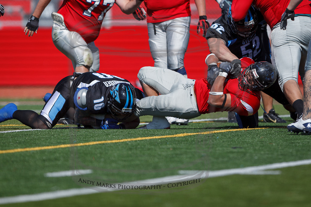 I thought his knee would get wrecked in this play, but he got up and played on.