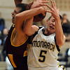 """Nate McGinley (5) of Monarch fights for a rebound against Jordan House of Rocky Mountain on Friday night.<br /> For more photos of the Monarch game, go to  <a href=""""http://www.dailycamera.com"""">http://www.dailycamera.com</a>.<br /> Cliff Grassmick / January 15, 2010"""