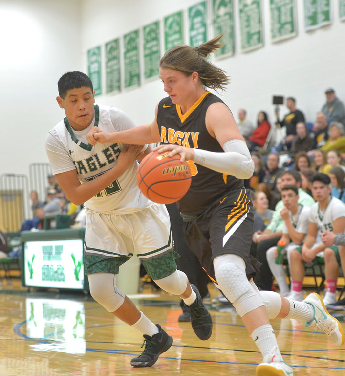 Justin Sheely | The Sheridan Press<br /> Tongue River's Daien' Bear Don't Walk guards Rocky Mountain's Colby Davison at Tongue River High School Friday, December 8, 2017. The Eagles lost to Rocky Mountain 85-40.