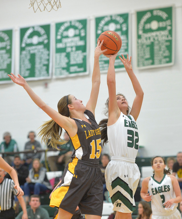 Justin Sheely | The Sheridan Press<br /> Tongue River's Holly Hutchinson, right, is blocked by Rocky Mountain's Maddy Hocker at Tongue River High School Friday, December 8, 2017. The Lady Eagles lost 43-28.