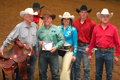 2013 National Circuit Finals Steer Roping Championship. From Left to Right: Tom Gipson of Chute Help, Roping Champion JP Wicket, Miss Rodeo Wyoming Holly Kennedy, Seth Schaffer  Blair Newman. Back Row Ross Newman.