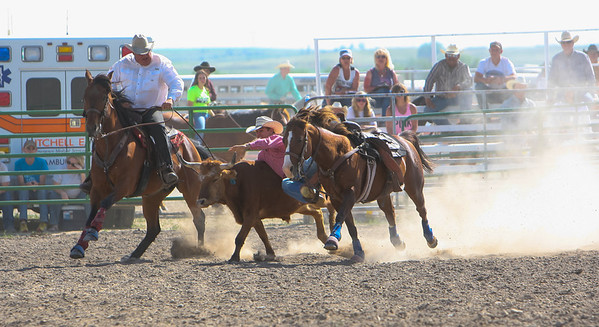 Day one of the Panhandle High School Rodeo, at Scotts Bluff County Fairgrounds in Mitchell, NE. In the Steer Wrestling Hemmingford's Danny Manning.