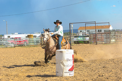 Day one of the Panhandle High School Rodeo, at Scotts Bluff County Fairgrounds in Mitchell, NE. In the Barrel Racing Bayard's Kaylie Fiscus