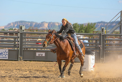 Day one of the Panhandle High School Rodeo, at Scotts Bluff County Fairgrounds in Mitchell, NE. In the Barrel Racing Torrington's Dani Faegler