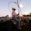 A rodeo cowboy awaits his turn in a steer roping competition.<br /> Some important ranching skills are preserved in main-stream rodeo, such as roping and tying, as well as horsemanship.