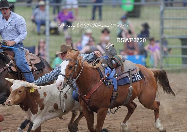 "Messrs.Clay Bush (Yass) and Tim Davis (Wee Jasper NSW) ""Steer Wrestling"", Gundagai 2012."
