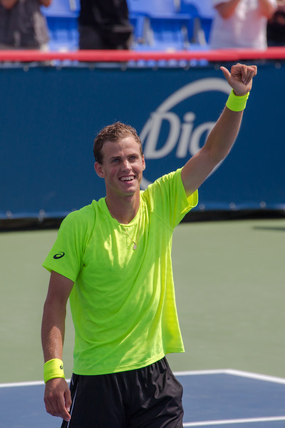 Canadian tennis player, Vasek Pospisil.  Photos from the second round of the 2013 Rogers Cup Masters 1000 tennis tournament in Montreal