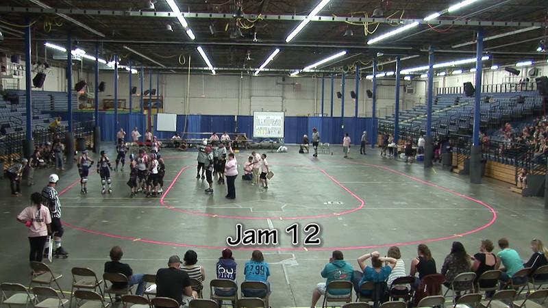 Period 1, Jams 12–16<br /> <br /> Jam 12: 0:07<br /> Jam 13: 1:37<br /> Jam 14: 2:36<br /> Jam 15: 4:09<br /> Jam 16: 8:02