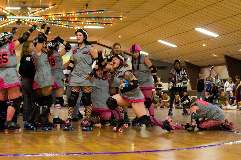 Junkyard Dolls celebrate victory over the Mobtown Mods.