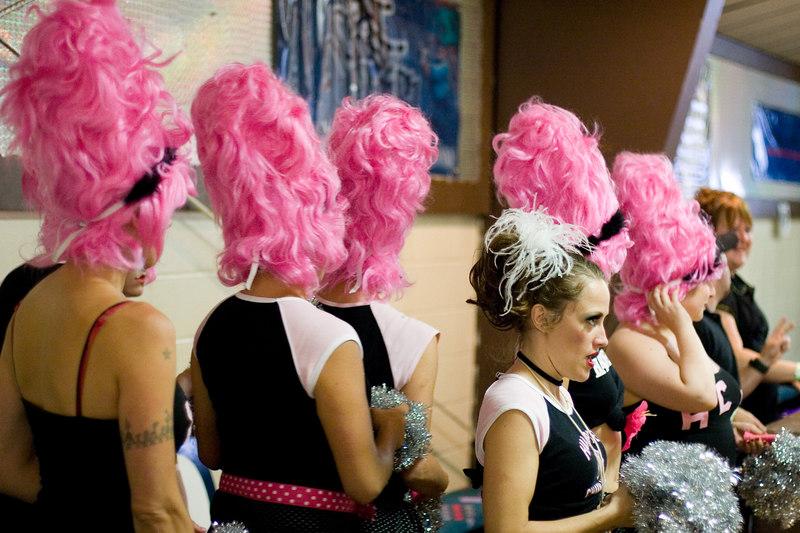 Hampden Charm School Cheerleaders and Trixie Little.
