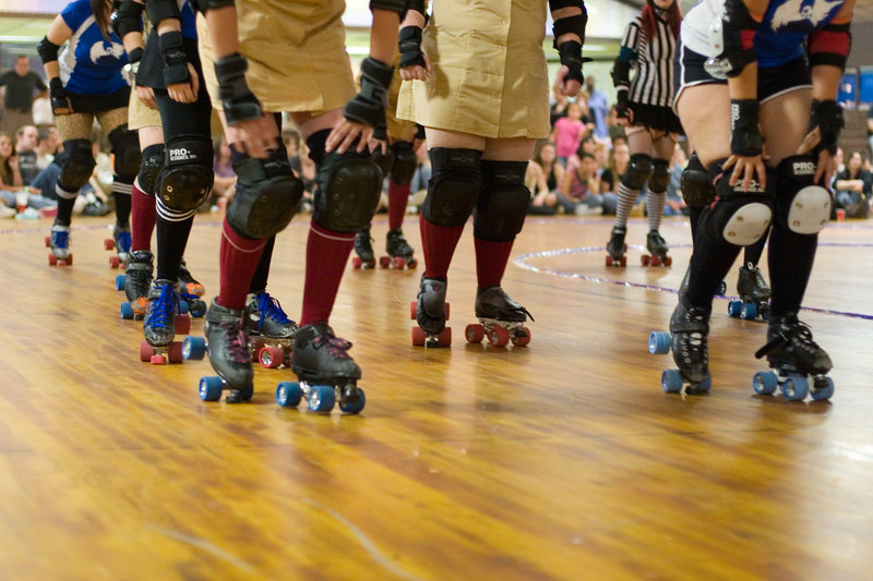 Lined up for the start of the jam - Night Terrors vs. Speed Regime.