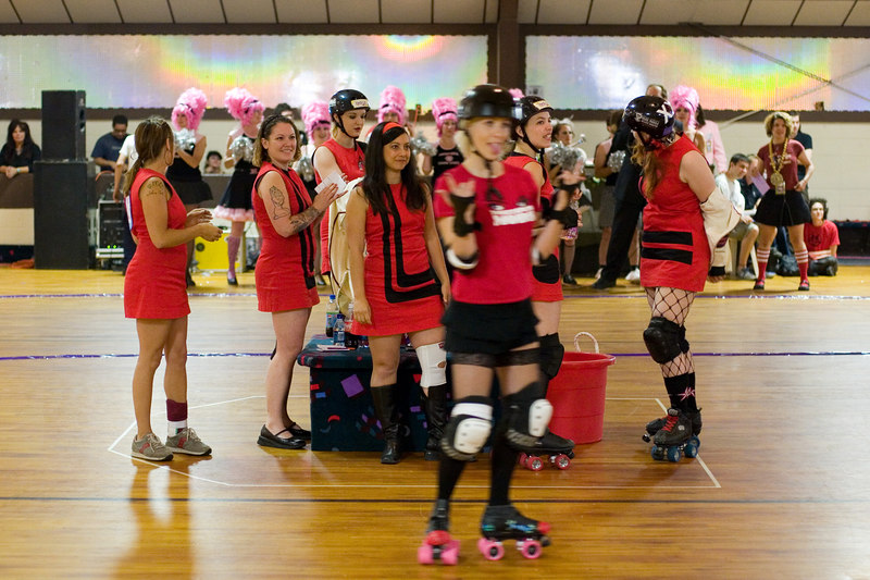 Mobtown Mods introduce a guest roller girl from Philadelphia.  The Mods were short-handed due to injuries.