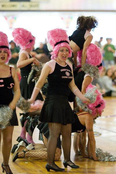 Hampden Charm School Cheerleaders with Trixie Little behind.