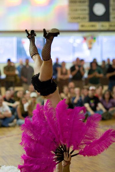 Trixie Little dancing upside down.
