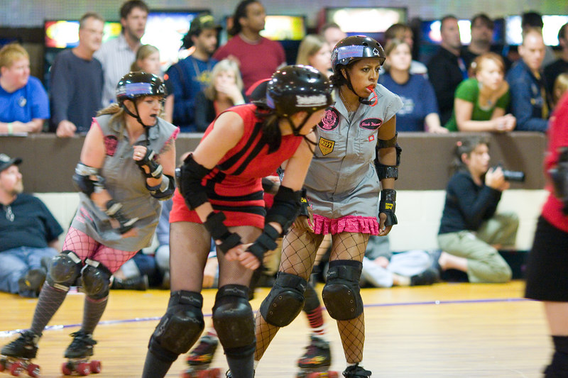 Black Diamond looking for a way through in the first bout between the Junkyard Dolls and the Mobtown Mods.