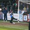 Joe Malin makes a save in training.