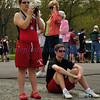 Kyle and Kelly waiting for the race.  NYS College Championships 2010, May 1, Whitney point, Dorchester Park.