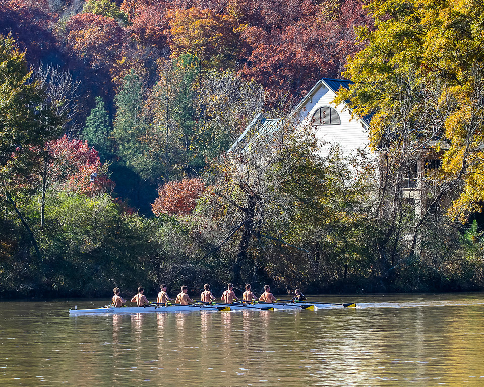 Here's a men's 8 crew team finishing up their race between St. Andrew's and Atlanta Junior Rowing Association friendly yesterday.  The weather was perfect.