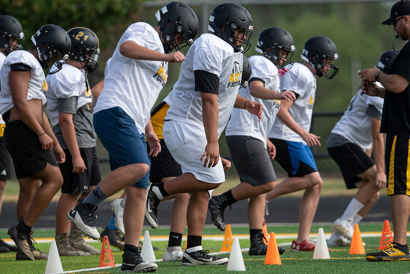 Roy High's football team conducts summer practice. In Roy, On July 28, 2021.