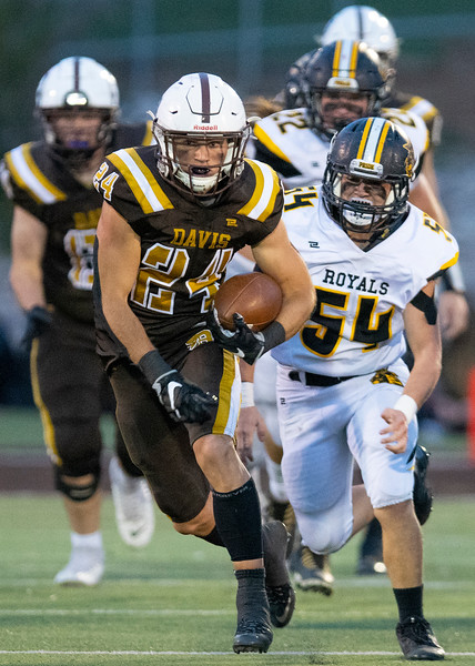Roy High School faces off against Davis during the prep football game. In Kaysville, On September 18, 2020.  Spencer Ferguson (24) ,