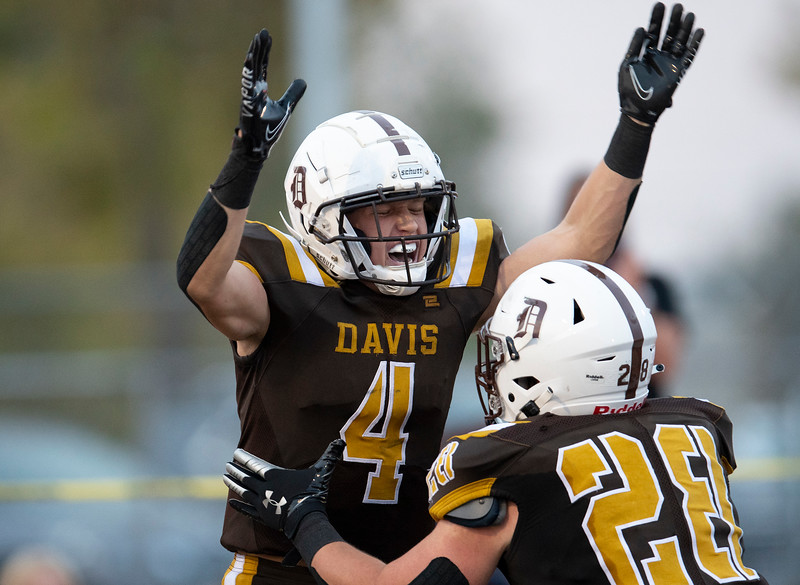 Roy High School faces off against Davis during the prep football game. In Kaysville, On September 18, 2020. David Spjut (4) , Ethan Healey (28)