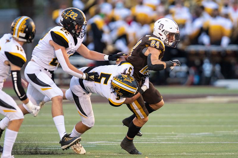 Roy High School faces off against Davis during the prep football game. In Kaysville, On September 18, 2020. Spencer Ferguson (24) , Cooper Valencia (5)