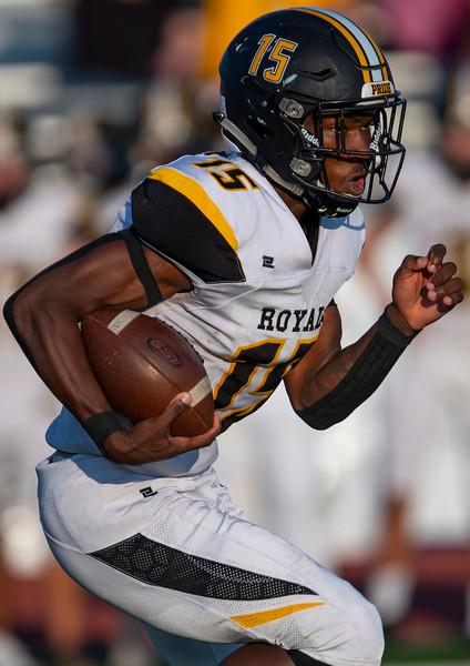 Roy battles Fremont High School during the prep football game. In Plain City, On August 28, 2020. Roy Running back Izzy Gordan (15).