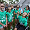 Plotkin family in Groton gets a backyard basketball court, with a visit by Boston Celtics' Terry Rozier, and retired legend Cedric Maxwell. Clockwise from left, Meghan McElheney, 11, Kristen McLean, 11, Ella Dinsome, 11, Alisa Plotkin, 11, Sarena Kretas, 10, and Tyler Plotkin, 14. (SUN/Julia Malakie)