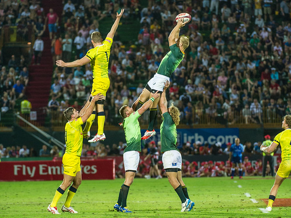 Kyle Brown of South Africa claims clean line out ball in the Cup Final match of the IRB Sevens World Series rugby tournament at the Emirates Airline Dubai Rugby Sevens in Dubai, UAE, on Saturday, Dec. 6th, 2014. Photo by: Stephen Hindley/Sportdxb/Photosport