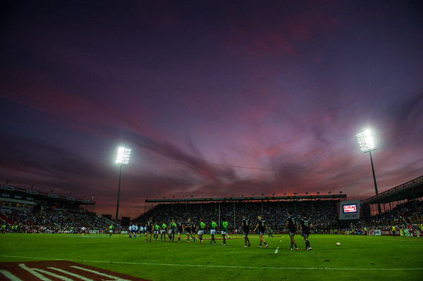 Sunset in Dubai, after the Cup semi-final between South Africa and New Zealand,  of the IRB Sevens World Series rugby tournament at the Emirates Airline Dubai Rugby Sevens in Dubai, UAE, on Saturday, Dec. 6th, 2014. Photo by: Stephen Hindley/Sportdxb/Photosport