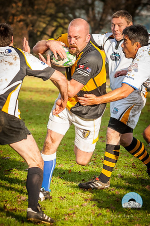 Action at the PNW Over 40 Rugby Union Annual Christmas Rugby Festival